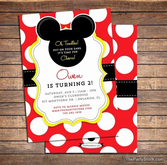 Mickey Mouse Birthday Party Invitations Lovely Mickey Mouse Invitation Mickey Mouse Birthday Invitations