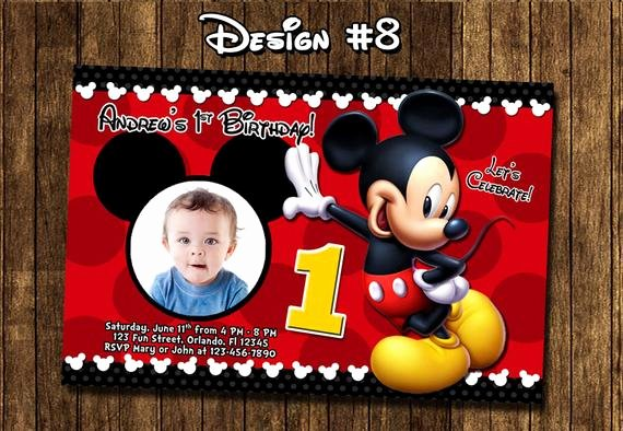 Mickey Mouse Birthday Party Invitations Luxury Mickey Mouse Baby First Birthday Party Invitations