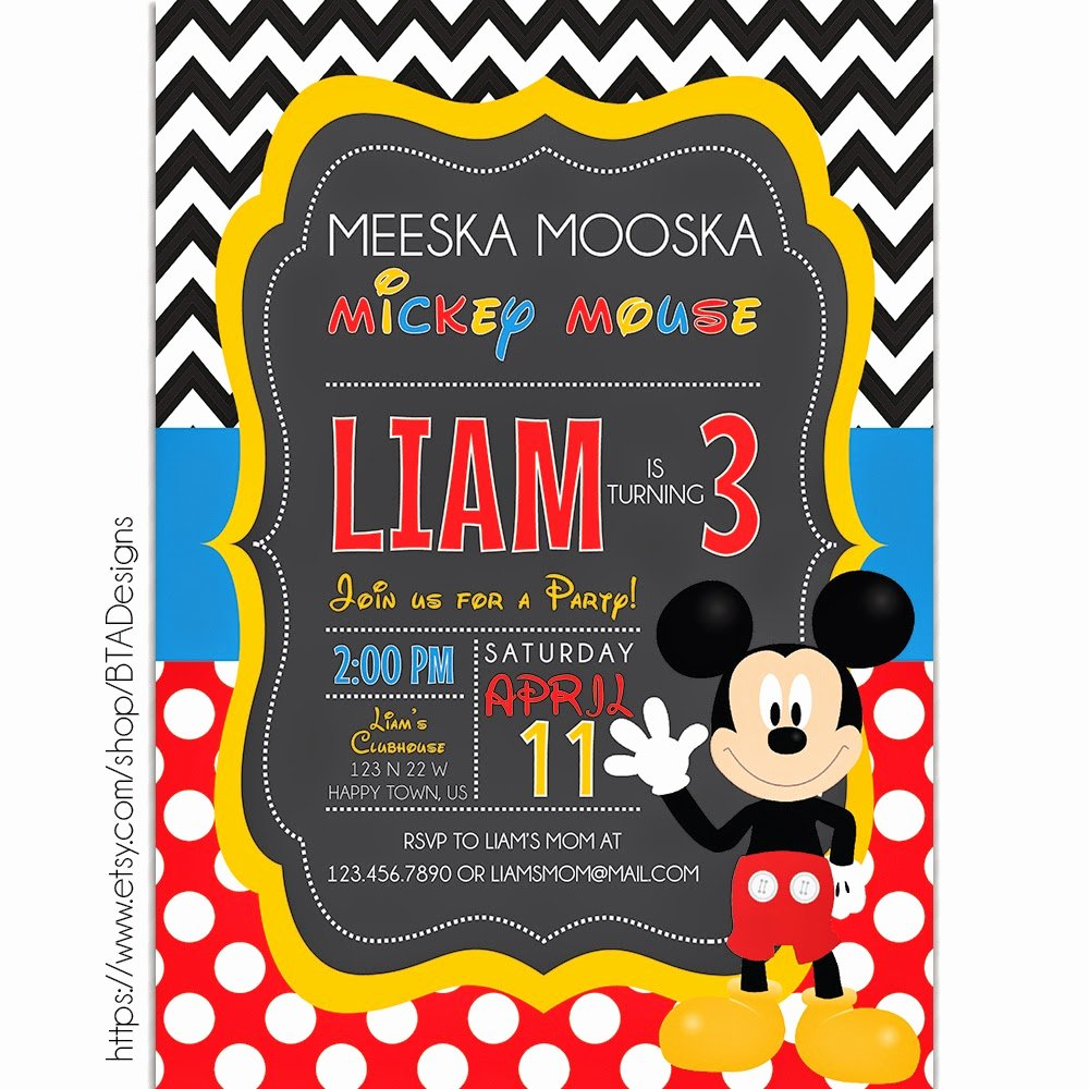 Mickey Mouse Birthday Party Invitations New Mickey Mouse Inspired Birthday Invitations Free Printable