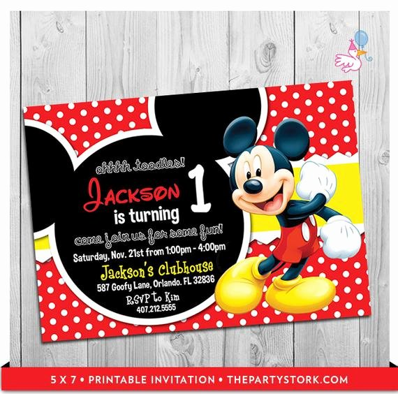 Mickey Mouse Birthday Party Invitations New Mickey Mouse Party Invitations Printable Boy 1st Birthday
