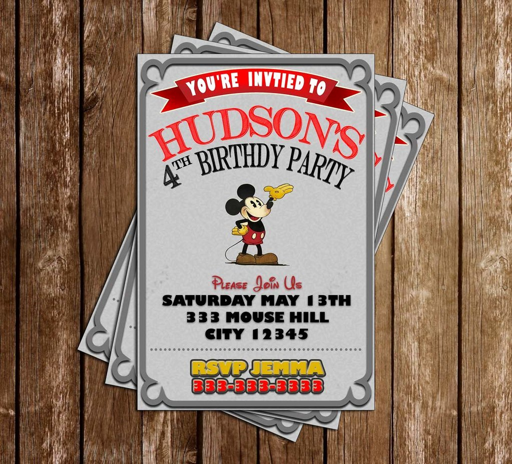 Mickey Mouse Birthday Party Invitations Unique Novel Concept Designs Classic Mickey Mouse Birthday Party Invitation