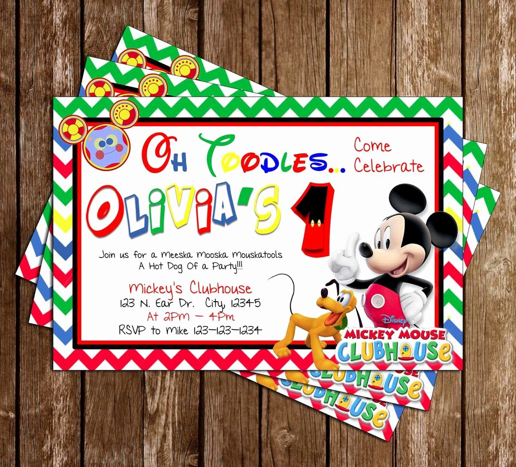 Mickey Mouse Clubhouse Birthday Invites Awesome Novel Concept Designs Disney Mickey Mouse Clubhouse Birthday Party Invitation