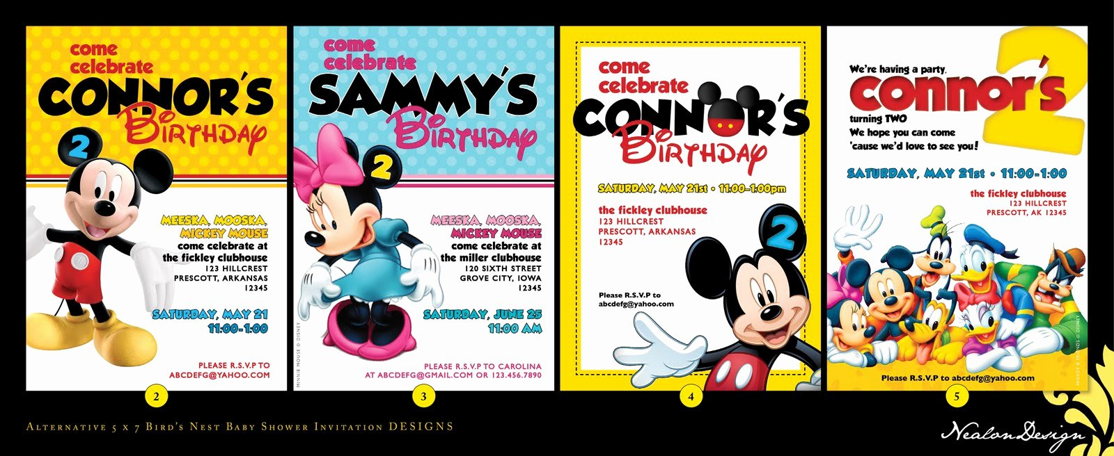 Mickey Mouse Clubhouse Birthday Invites Elegant Nealon Design Mickey Mouse Clubhouse Birthday Invitations