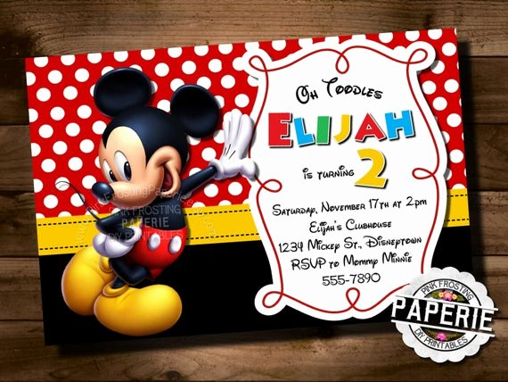 Mickey Mouse Clubhouse Birthday Invites Fresh Mickey Mouse Birthday Invitation Mickey Mouse Clubhouse