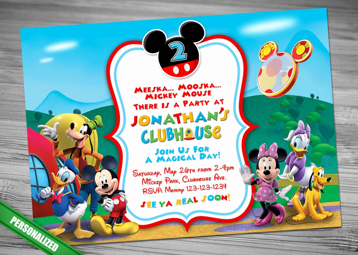 Mickey Mouse Clubhouse Birthday Invites Inspirational Mickey Mouse Clubhouse Invitation Mickey Invitation Mickey