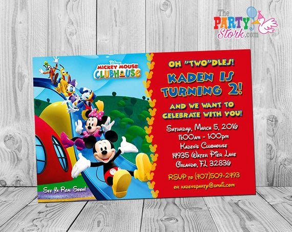 Mickey Mouse Clubhouse Birthday Invites Inspirational Mickey Mouse Clubhouse Invitations Printable Personalized