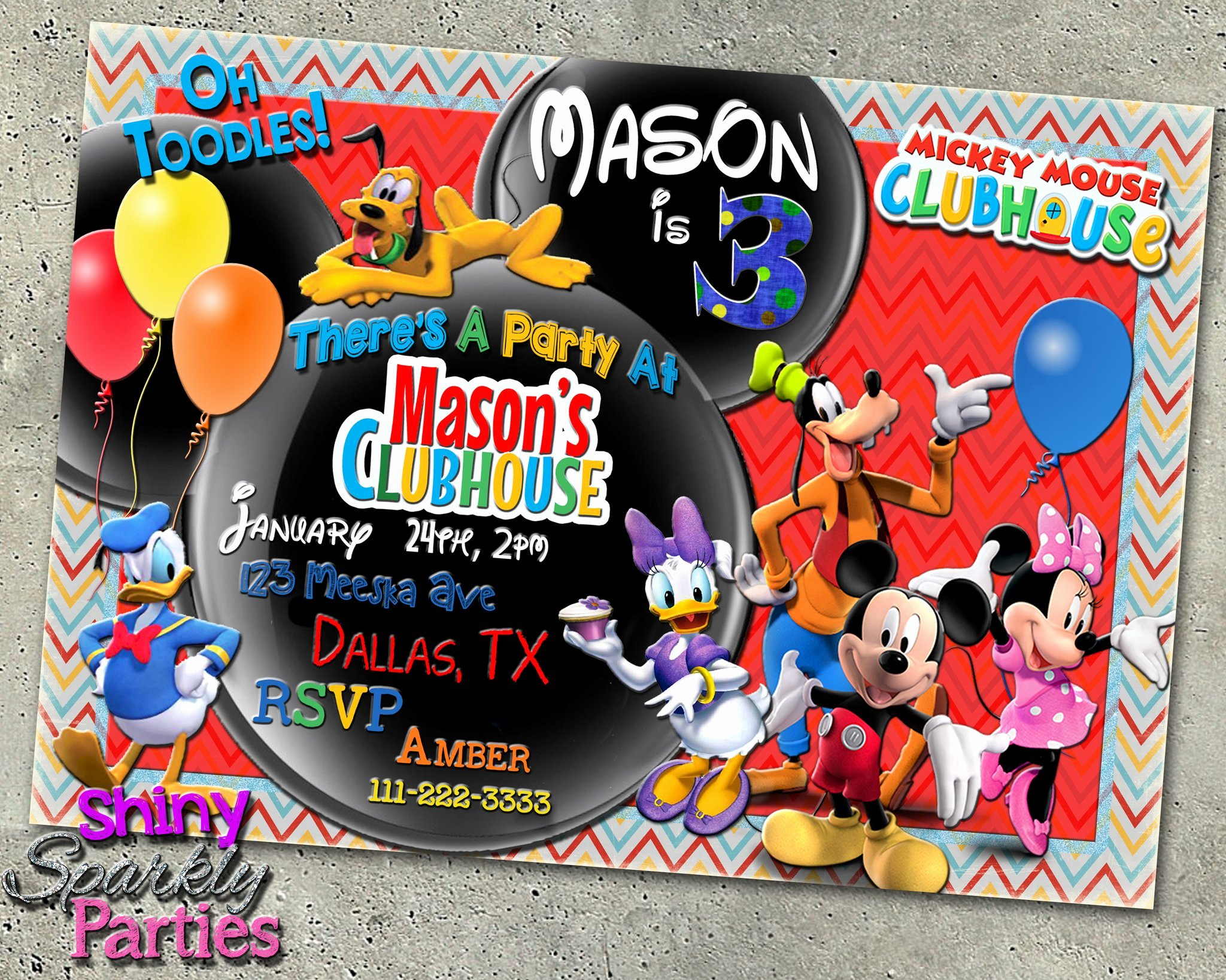 Mickey Mouse Clubhouse Birthday Invites Lovely Mickey Mouse Clubhouse Birthday Invitation forever Fab Boutique