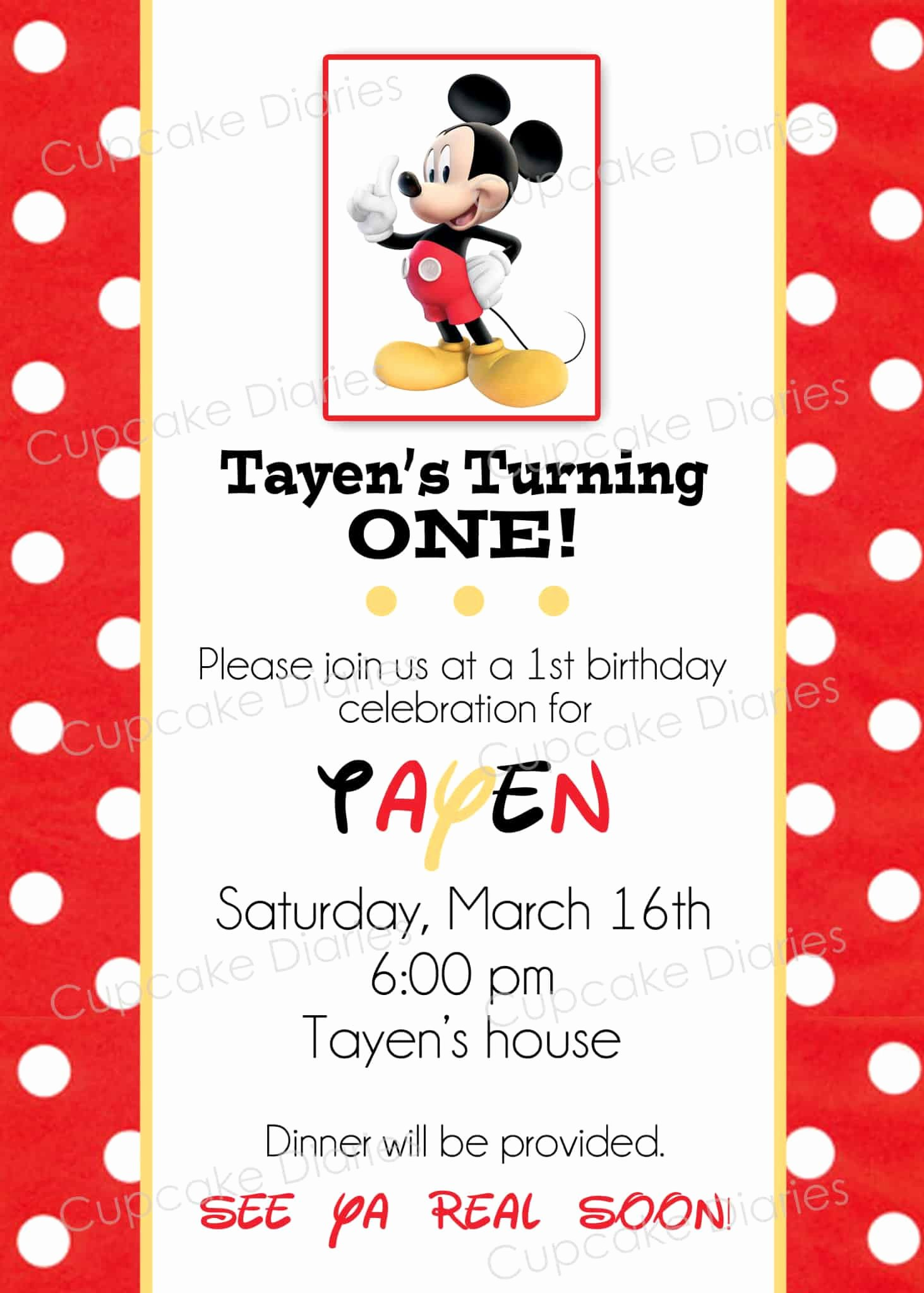 Mickey Mouse Invitations Online Awesome Simple Mickey Mouse Birthday Party Free Subway Art Printable Cupcake Diaries