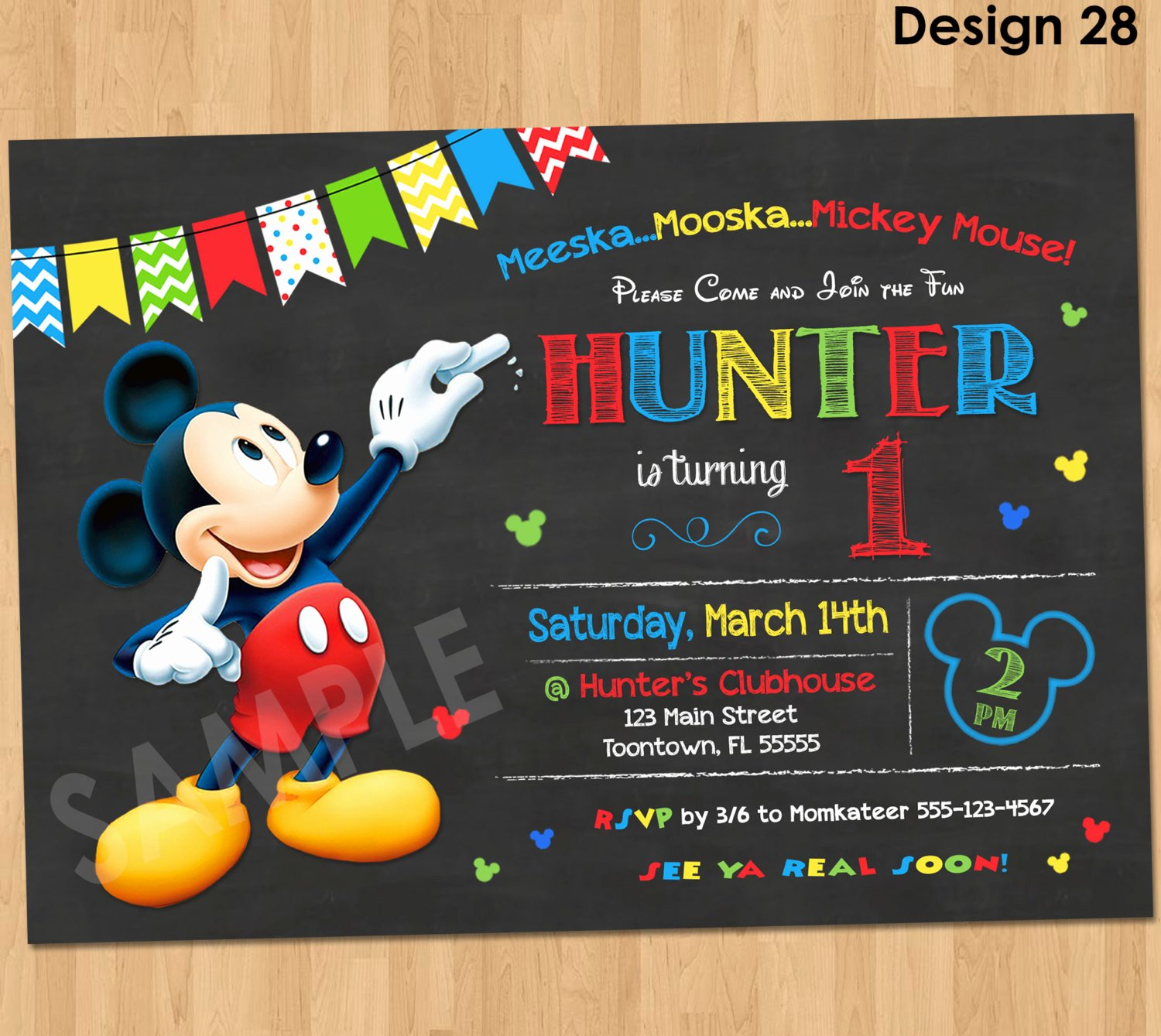 Mickey Mouse Invitations Online Elegant Mickey Mouse Birthday Invitation Mickey Mouse Clubhouse