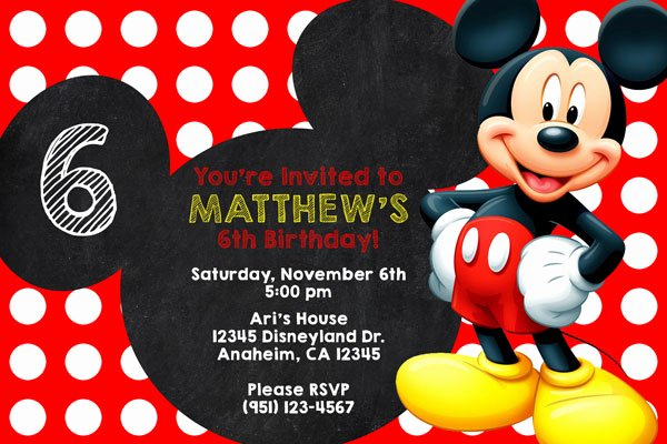 Mickey Mouse Invitations Online Inspirational Mickey Mouse Birthday Party Invitations