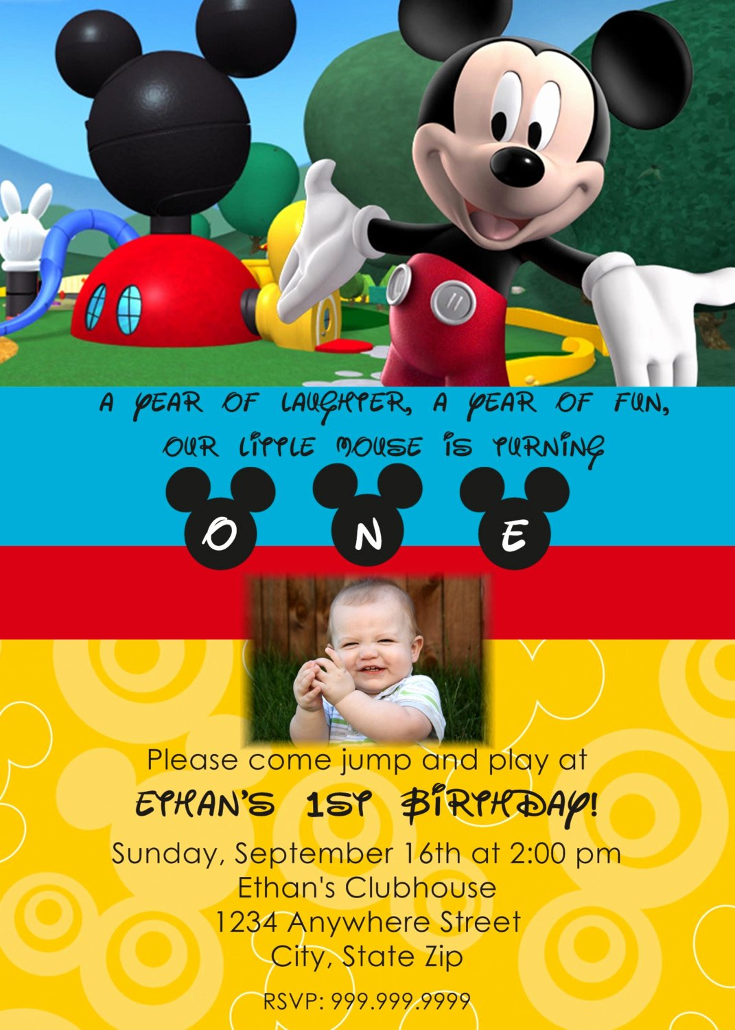 Mickey Mouse Invitations Online Inspirational Mickey Mouse Clubhouse Personalized Invitation by Jennywestdesigns