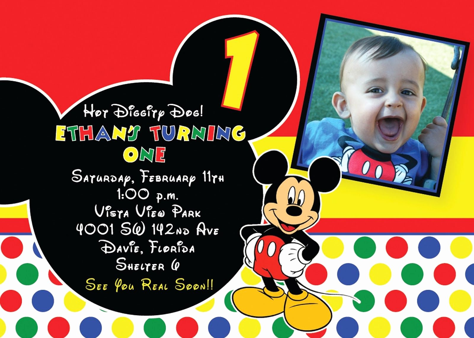 Mickey Mouse Invitations Online Luxury Mickey Mouse 1st Birthday Invitations Free Printable Birthday Invitation