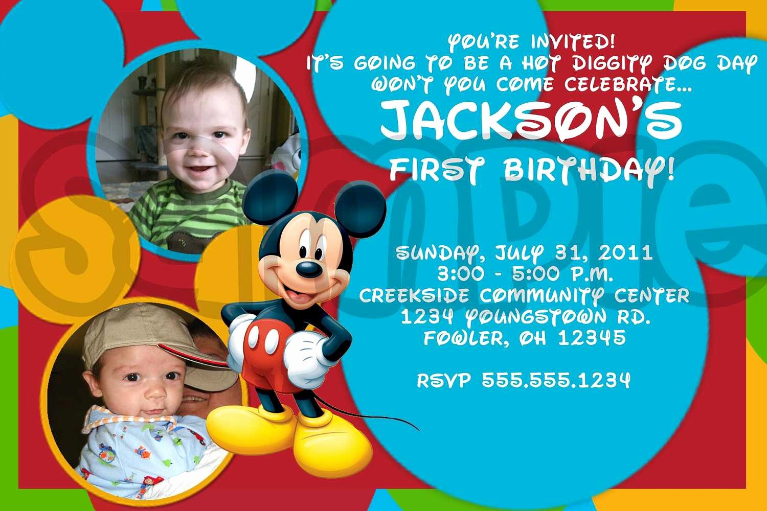 Mickey Mouse Invitations Online New Mickey Mouse Birthday Invitations