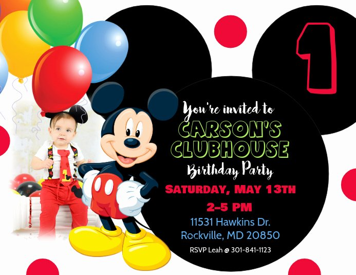 Mickey Mouse Invitations Template Fresh Mickey Mouse Birthday Invitation Template
