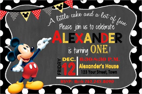 Mickey Mouse Invitations Template Inspirational 31 Mickey Mouse Invitation Templates Free Sample Example format Download