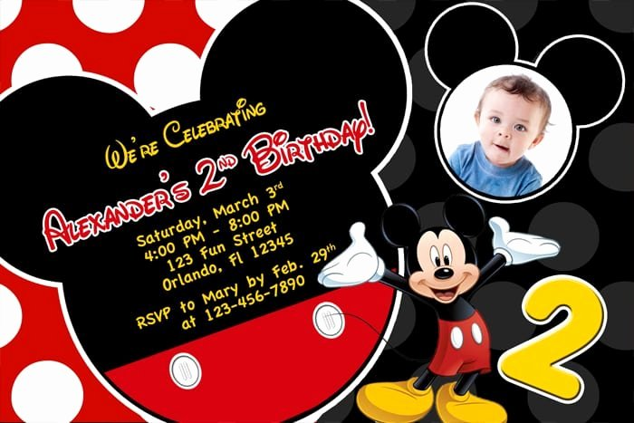 Mickey Mouse Invitations Template Lovely Free Printable Birthday Invitations Mickey Mouse