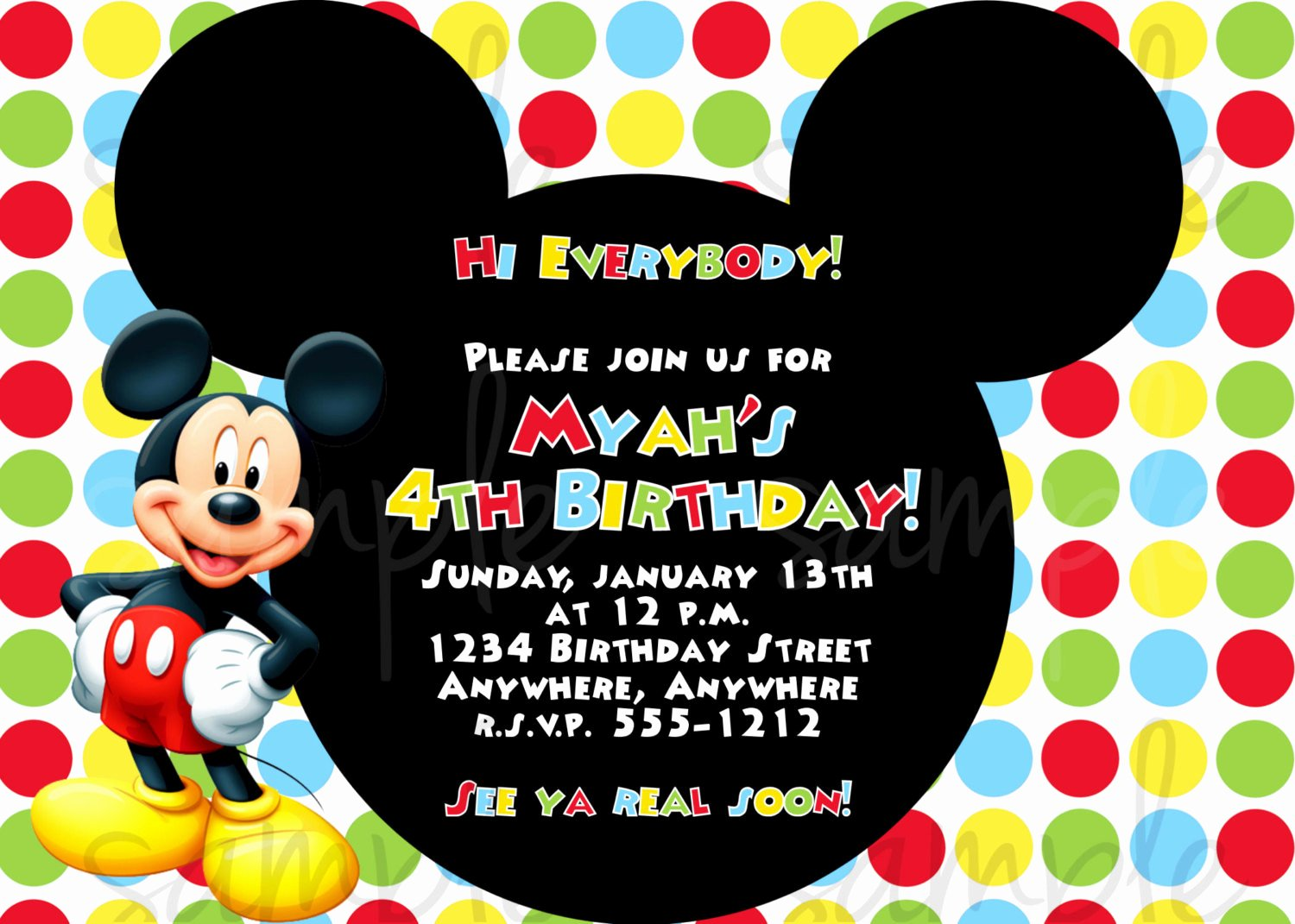 Mickey Mouse Invitations Template Luxury Free Mickey Mouse First Birthday Invitations Template