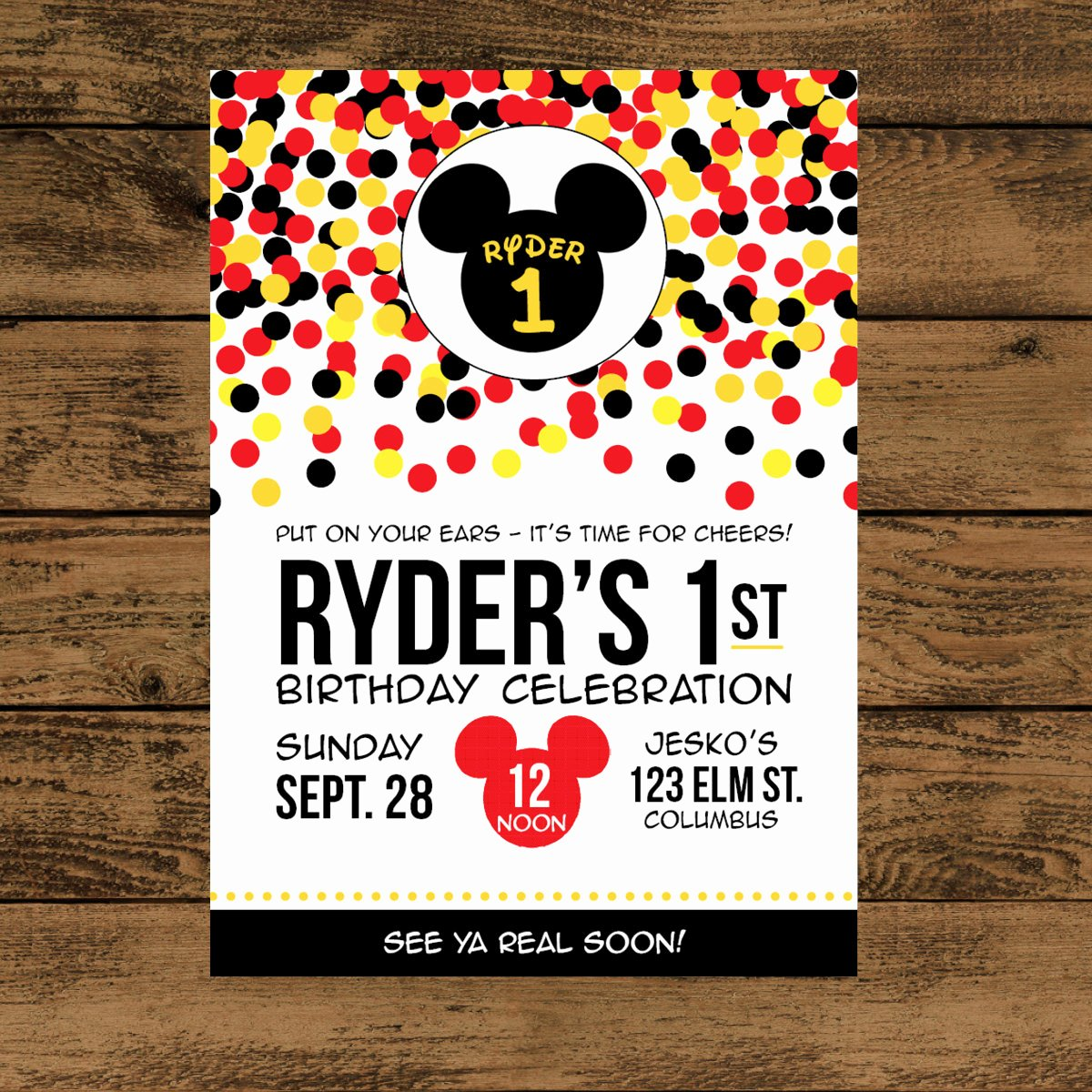 Mickey Mouse Invitations Template New Mickey Mouse Birthday Invitation Digital or Printed