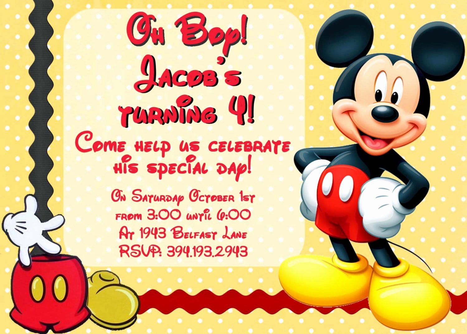 Mickey Mouse Invitations Template Unique Birthday Invitation Mickey Mouse