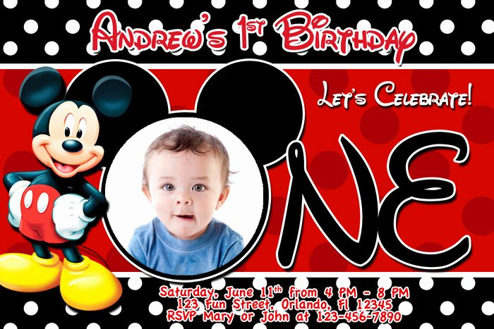 Mickey Mouse Invitations Templates Awesome Mickey Mouse 1st Birthday Invitations Free Invitation Templates Drevio