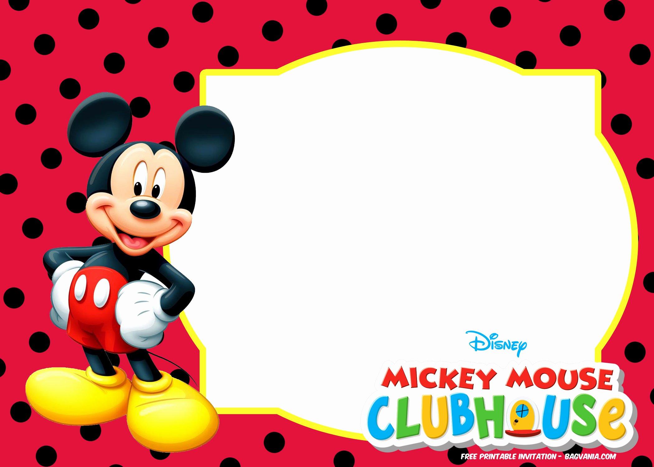 Mickey Mouse Invitations Templates Elegant Free Mickey Mouse Invitation Templates – Polka Dots – Free Printable Birthday Invitation