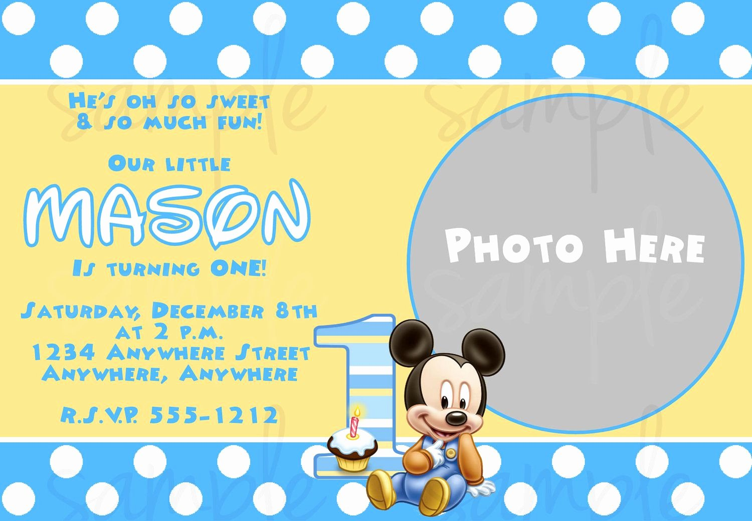 Mickey Mouse Invitations Templates Elegant Free Printable Baby Mickey Mouse 1st Birthday Invitations andrei