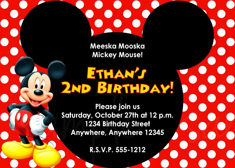 Mickey Mouse Invitations Templates Elegant Mickey Mouse Birthday Invitation