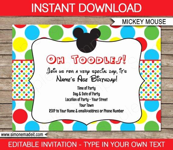 Mickey Mouse Invitations Templates Fresh Mickey Mouse Invitation Template Birthday Party Instant