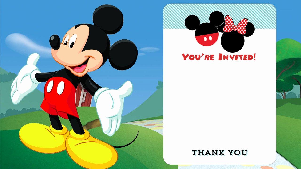 Mickey Mouse Invitations Templates Lovely Free Disney Printable Birthday Invitations Free Invitation Templates Drevio