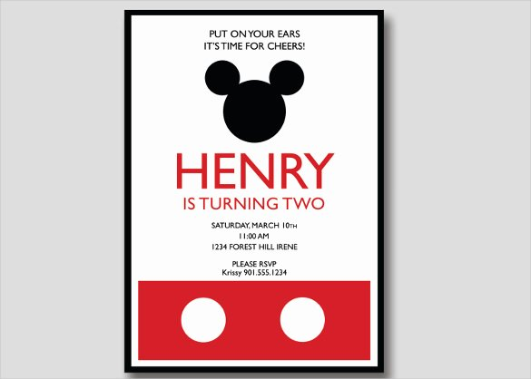 Mickey Mouse Invitations Templates Luxury 20 Mickey Mouse Birthday Invitation Templates – Free Sample Example format Download