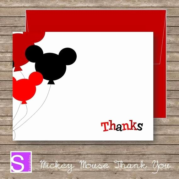 Mickey Mouse Thank You Cards Awesome Mickey Mouse Thank You Card Red Thank You Card Printable