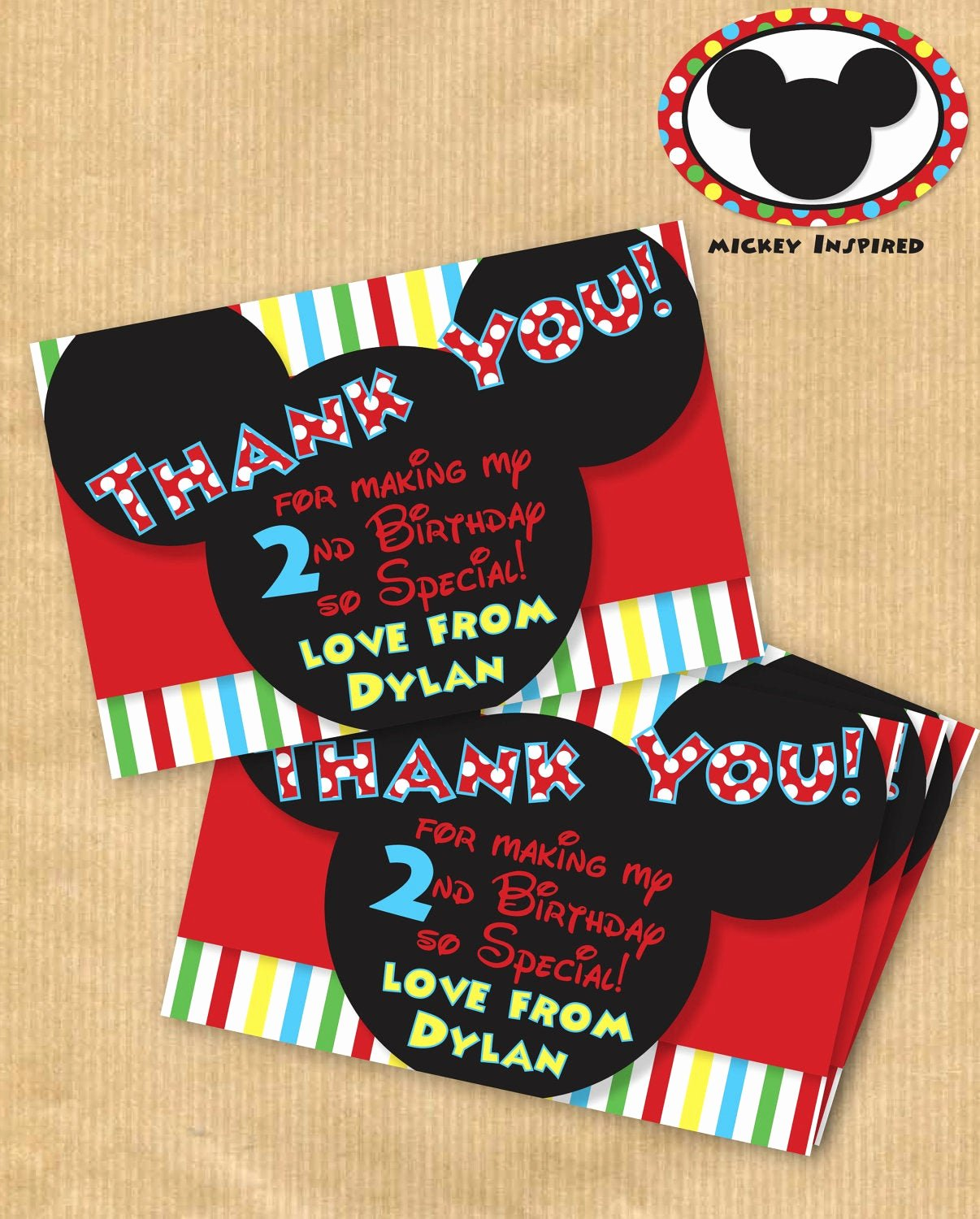 Mickey Mouse Thank You Cards Awesome New Mickey Mouse Inspired Thank You Cards by Yourprintableparty