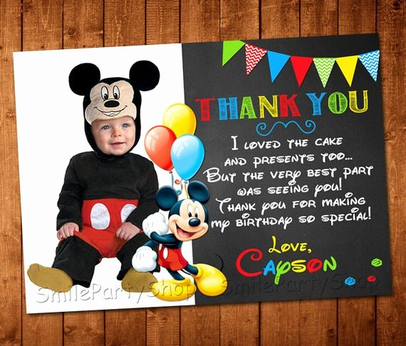 Mickey Mouse Thank You Cards Beautiful Mickey Mouse Thank You Card Personalized Digital by Smileparty