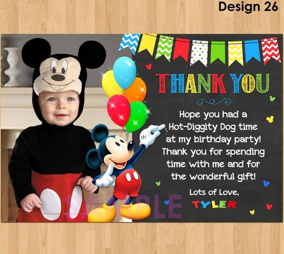 Mickey Mouse Thank You Cards Best Of Mickey Mouse Thank You Card with Mickey Thank You Card