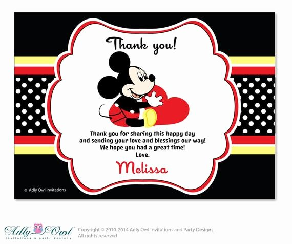 Mickey Mouse Thank You Cards Elegant Items Similar to Boy Mickey Mouse Thank You Card with Personalization Boy Mickey Mouse Baby