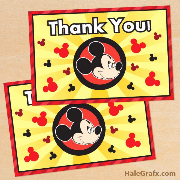 Mickey Mouse Thank You Cards Fresh Free Printable Mickey Mouse Thank You Card