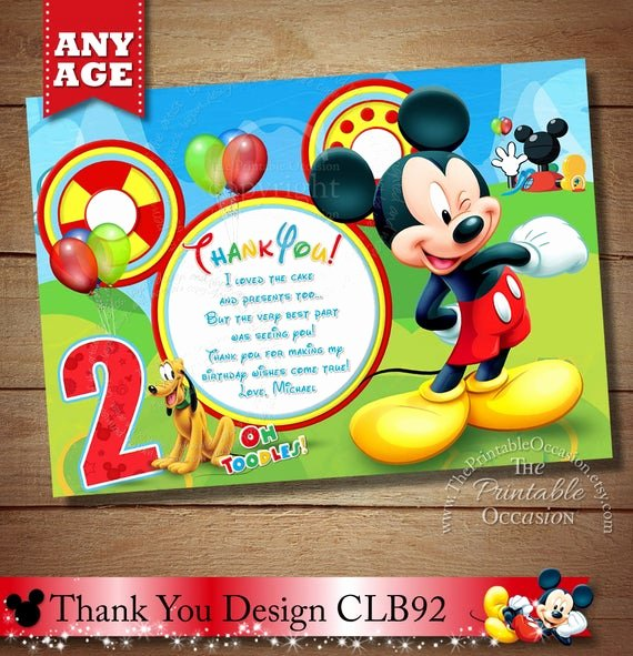 Mickey Mouse Thank You Cards Fresh Items Similar to Mickey Mouse Thank You Card Clubhouse Thank You Card Mickey and Friends Thank