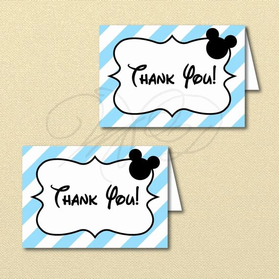 Mickey Mouse Thank You Cards Lovely Printable Baby Mickey Mouse Thank You Card Blue Mickey Party