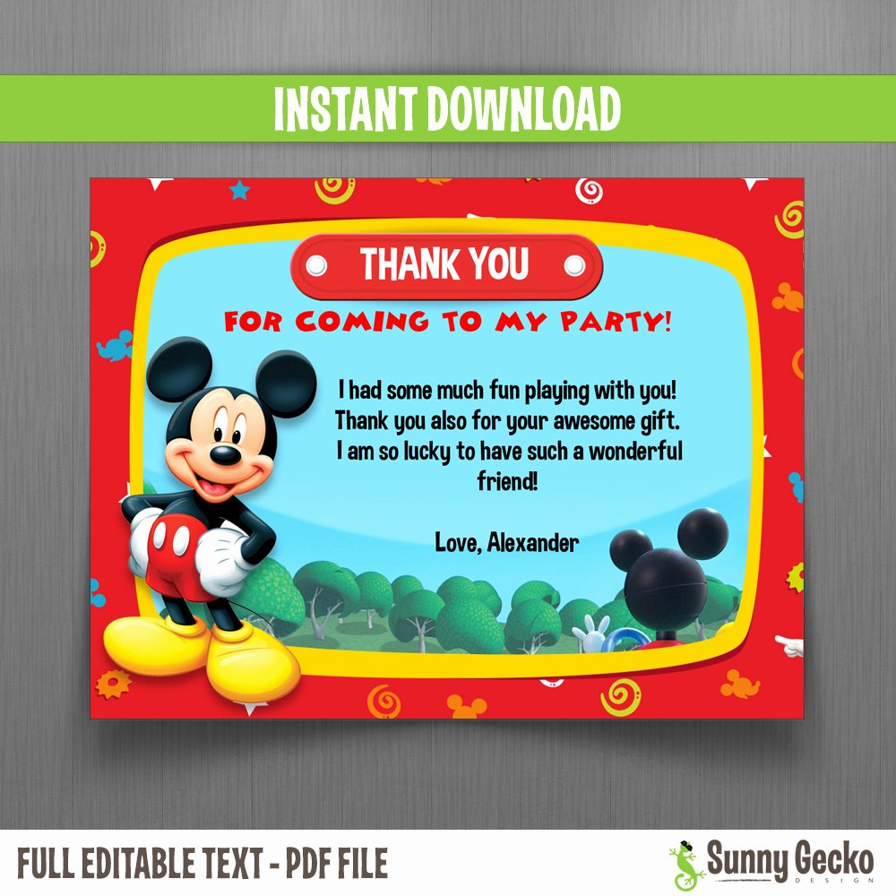 Mickey Mouse Thank You Cards Luxury Disney Mickey Mouse Clubhouse Birthday Thank You Cards Instant Download and Edit with Adobe Reader