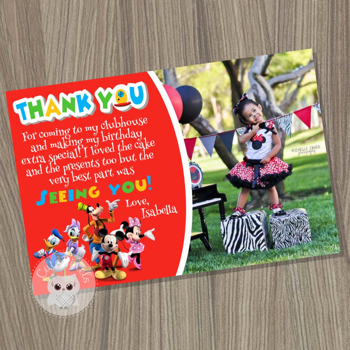 Mickey Mouse Thank You Cards New Mickey Mouse Clubhouse Thank You Card Mickey Mouse Birthday
