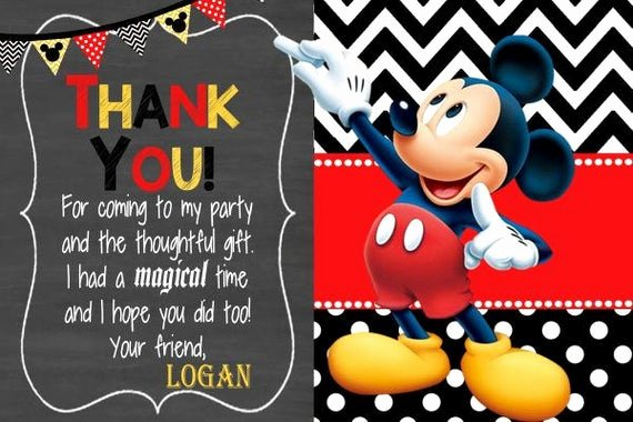 Mickey Mouse Thank You Cards New Mickey Mouse Thank You Card Mickey Thank You Mickey Birthday