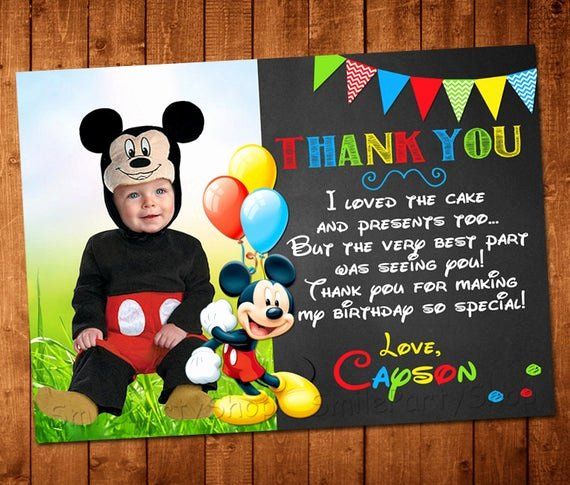 Mickey Mouse Thank You Cards New Mickey Mouse Thank You Card Personalized Digital by Smileparty