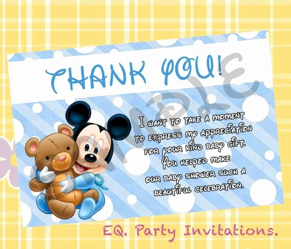 Mickey Thank You Cards Beautiful Mickey Mouse Baby Shower Thank You Card by Meprintanddesing