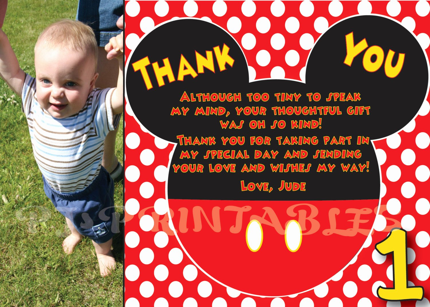 Mickey Thank You Cards Beautiful Mickey Mouse Polka Dot Thank You Card Custom Digital File