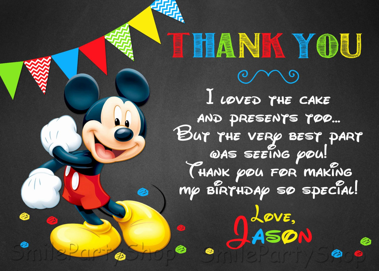 Mickey Thank You Cards Beautiful Mickey Mouse Thank You Card Personalized Digital by Smileparty