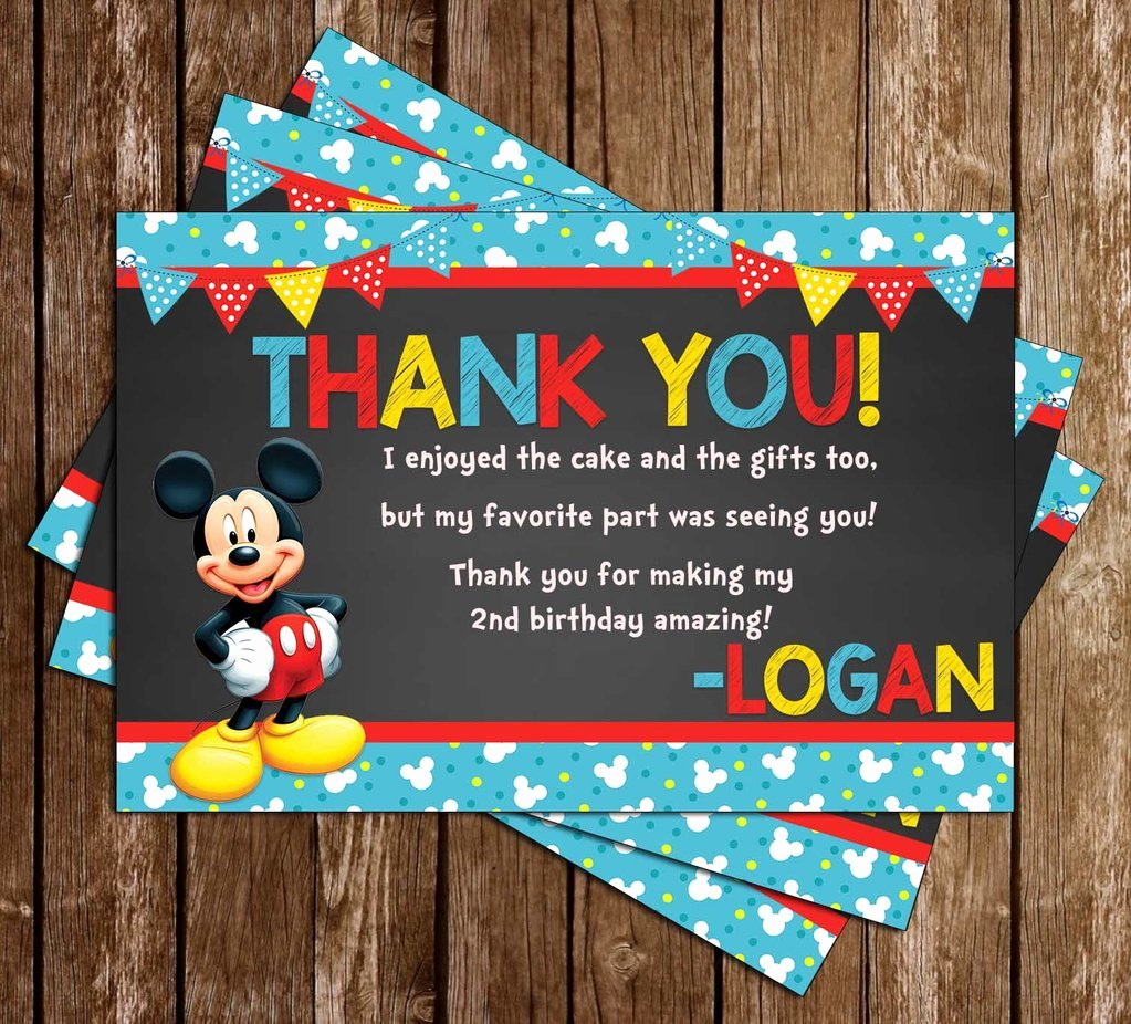 Mickey Thank You Cards Beautiful Novel Concept Designs Mickey Mouse Blue Banner Thank You Card