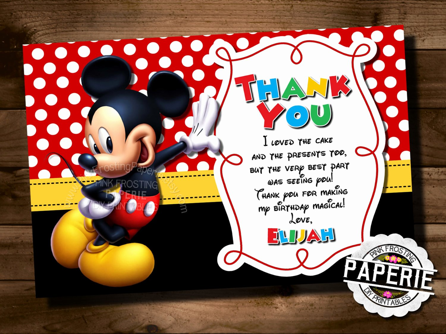 Mickey Thank You Cards Elegant Huge Variety Mickey Mouse Chevron Birthday Thank You Card