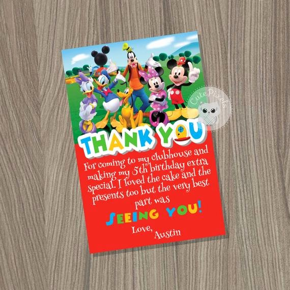 Mickey Thank You Cards Elegant Mickey Mouse Clubhouse Thank You Card Mickey Mouse Birthday