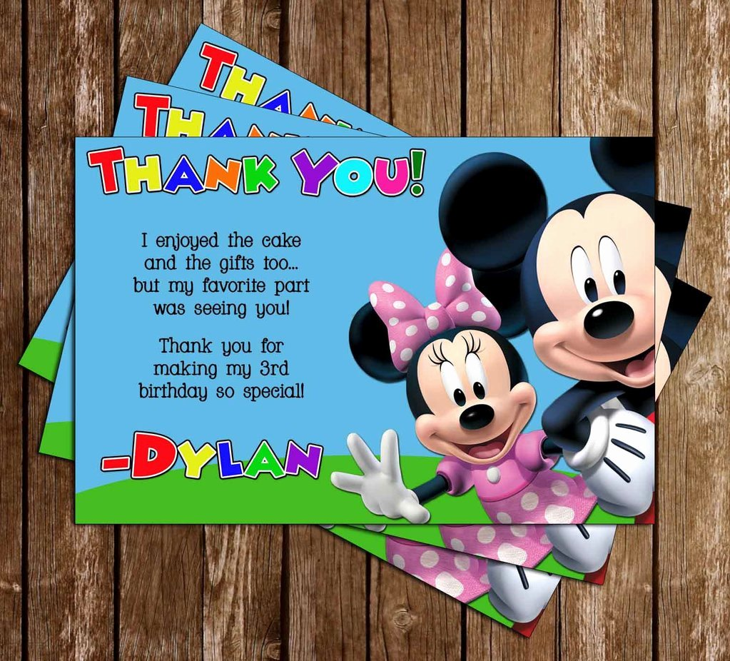 Mickey Thank You Cards Fresh Novel Concept Designs Mickey Mouse Clubhouse Birthday Party Thank You Card