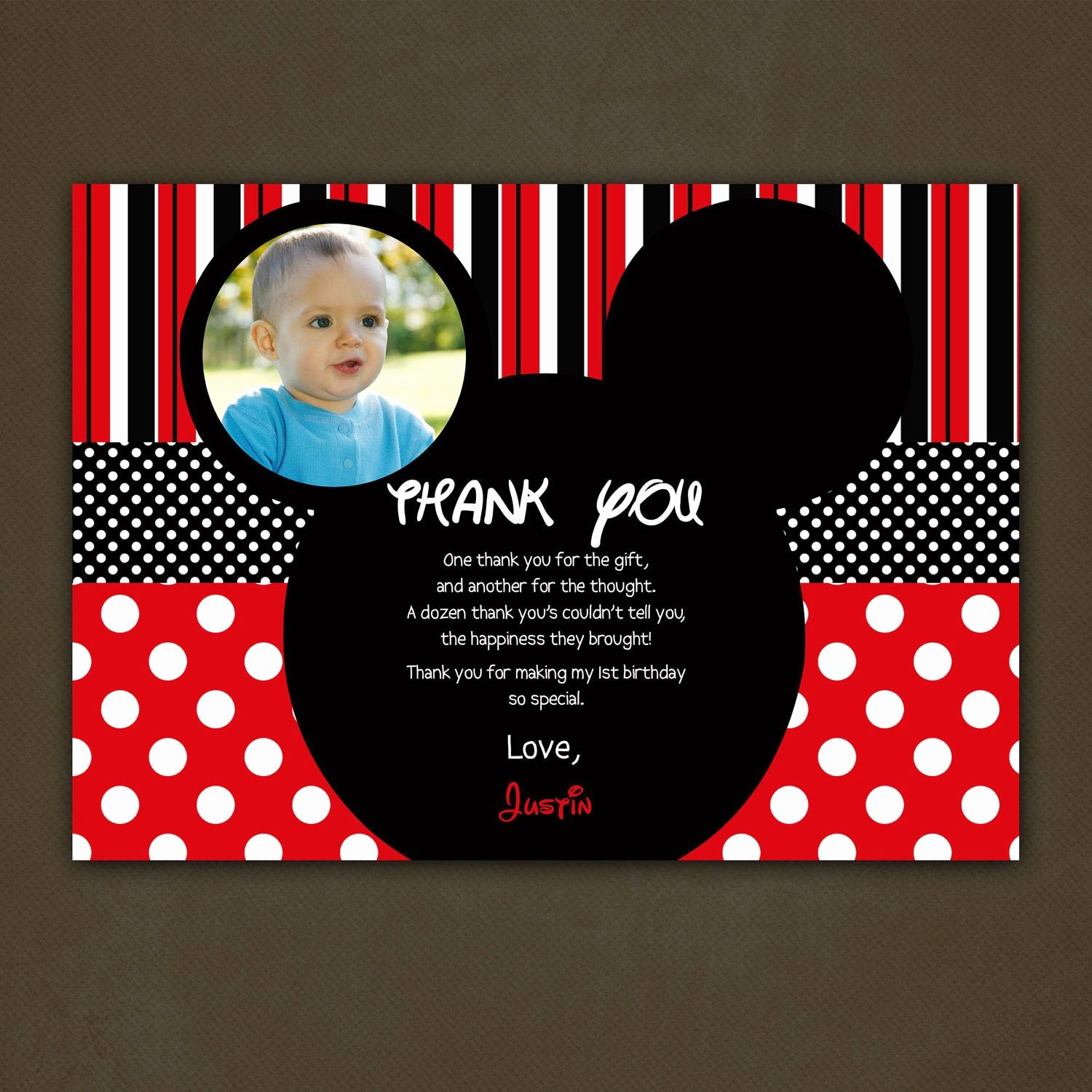 Mickey Thank You Cards Lovely Mickey Mouse Thank You Card Birthday by Pinkskyprintables On Etsy